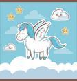 unicorn fantasy card dream cloud star kawaii vector image vector image