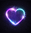 valentines background with neon light heart sign vector image vector image