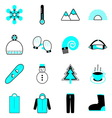Winter icons on white background vector image vector image