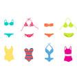 women colorful swimsuit design set fashion bikini vector image vector image