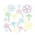 set of floral icon in flat design vector image