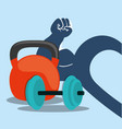 fitness weight barbell arm heart vector image