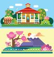 Flat spring and summer landscapes vector image