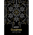 Merry christmas new year snowflake gold deco retro vector image