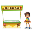 A boy selling ice cream for summer vector image vector image