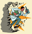 african scientist with microscope breaks a wall vector image vector image