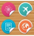 Airplane icons World globe symbol vector image vector image