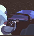 astronaut in the car in the middle of space vector image vector image