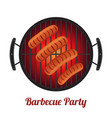 barbecue pan with sausages bbq party banner vector image vector image