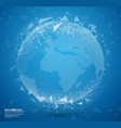 blue abstract globe earth with connecting dots vector image vector image