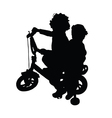 children on bike silhouette vector image vector image