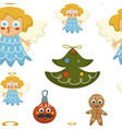 christmas holidays symbolic characters angel vector image vector image