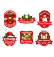 christmas new year holiday greeting icons vector image