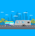 country traveling poster with camping trailer vector image vector image