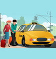 couple on vacation calling a taxi vector image vector image