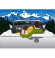 couple sitting in white convertible car hugging vector image vector image