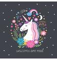 Cute Unicorn with flowers vector image vector image