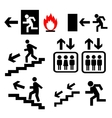 emergency exit signs set vector image
