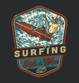 extreme surfing vintage colorful badge vector image vector image