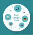 flat icons housewife faucet carpet vacuuming and vector image vector image
