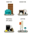 furniture and home accessories icons vector image vector image