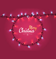glowing christmas realistic lights wreath for xmas vector image