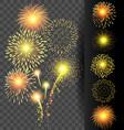 golden firework set on translucent background vector image