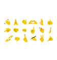 hand emoticons yellow arms and fists vector image