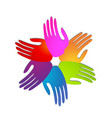 hands of people coming together for change icon vector image