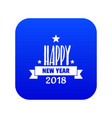 happy new year lettering icon blue vector image vector image