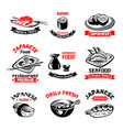 icons for japanese sushi food restaurant vector image vector image
