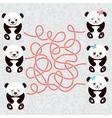 Kawaii funny panda white muzzle with pink cheeks vector image