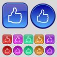 Like icon sign A set of twelve vintage buttons for vector image vector image