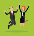 man and a woman jump celebrate the victory vector image vector image