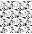 maneki neko pattern in hand drawn style vector image vector image