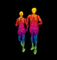 marathon runner couple running together vector image vector image