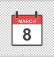 march 8 calendar icon international womens day in vector image