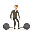 office worker character with shackles vector image