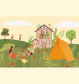people in garden picnic in backyard country vector image