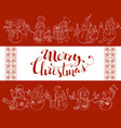 red merry christmas background with cute snowmen vector image