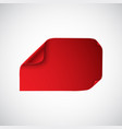 red sheet of paper with curved corners vector image