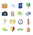 Rest and travel set icons in cartoon style Big vector image vector image