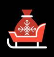 santa sleigh and gift bag merry christmas icon vector image