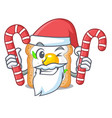 santa with candy sandwich with egg isolated in vector image