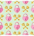 seamless pattern padlock key with heart shape vector image vector image