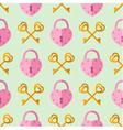 seamless pattern padlock key with heart shape vector image