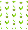 seamless pattern with green leaves and sprout vector image