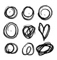set abstract hand drawn painted black paint vector image vector image