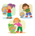 Set icons small girls playing with globe vector image