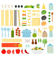 set italy pasta icons flat vector image vector image